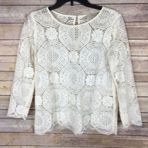 LOFT Sz XS Ivory Lace Sheer 3/4 Sleeve Blouse